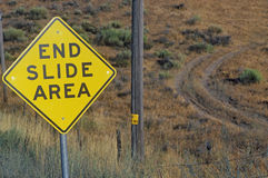 End Slide Area sign Stock Photo