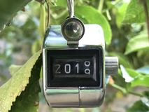 End of 2018, Start of 2019. Made this clicker indicates the switch between 2018 and Stock Photo
