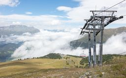 End station of a ski lift. High in the mountains, Austria in summer Stock Photo