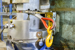 The end of the steel sling to the load hook. After the pressing operation. Royalty Free Stock Photography