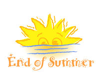End of Summer. A setting sun. Perfect for those End-of-Summer sales! Hurry! There's only a little left vector illustration