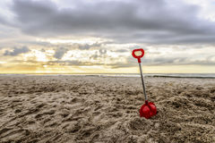 End of the Summer. On the empty beach in Poland by Baltic sea royalty free stock images
