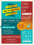End of summer party poster or card design template vector illustration