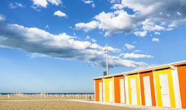 End of Summer - Rimini Beach, Italy. Wide view of an empty beach closing for the end of the summer Royalty Free Stock Images