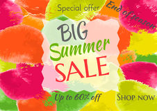End of summer sale banner design template. Multi-colored watercolor stroke background.Vector illustration Royalty Free Stock Photos