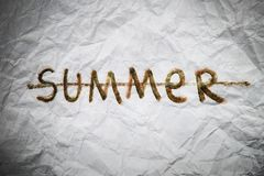 End of summer sign. Word summer strikeout Royalty Free Stock Images
