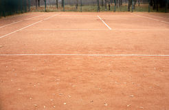 End of summer sport season. Epmty tennis court Royalty Free Stock Images