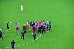 End of te soccer macth. Steaua Bucharest won against Dinamo Stock Photos