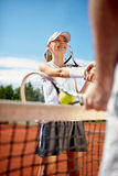 End of tennis training Royalty Free Stock Image