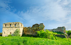 The ruins of an abandoned Pnivsky castle in Ukraine. At the end of the 15th century the Pnivsky  castle was built by the noble Kuropat family. near Nadvirna ( Stock Photos