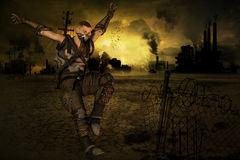 End Time - Jumping man. Jumping man in front of a post apocalyptic background Stock Images