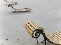 End Of Tourist Season. Abandoned beach with a row of benches, concept of the end of tourist season. Outdoor shot, focus in the foreground Stock Images