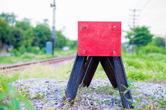 End of the train. Kerr Thailand railway train is coming now Stock Photo