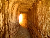 End of the Tunnel. Conceptual light in the end of the tunnel, real picture from Cappadocia stock images