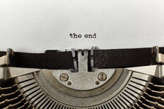 `the end` typed words on a vintage typewriter Stock Photography