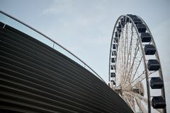 End on view of the Ferris wheel, Navy Pier stock photo