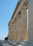 End view of Parthenon in Athens, Greece. View at one end of Parthenon on the Acropolis in Athens, Greece Royalty Free Stock Image