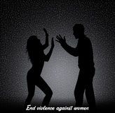 End violence against women. Illustration of violence against women Royalty Free Stock Image