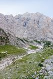 End of Vrata valley and Mt. Triglav. North wall Stock Photography