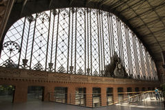 End wall and clock of Atocha Station Madrid Royalty Free Stock Photo