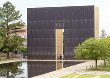 9:03AM end wall, reflective pool and Granite walkway, Oklahoma City Memorial Royalty Free Stock Image