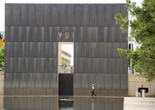 9:01AM end wall, reflective pool and Granite walkway, Oklahoma City Memorial Royalty Free Stock Photo