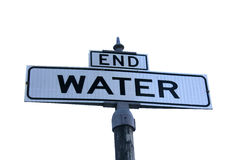 End of Water. Street sign End Water over white Royalty Free Stock Images
