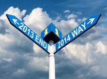 2013 end and 2014 way signs Royalty Free Stock Photos