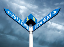 2013 end and 2014 way signs Stock Photo