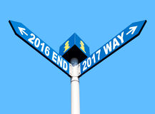 2016 end and 2017 way signs. Street post with 2016 end and 2017 way signs Royalty Free Stock Image