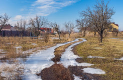 End of winter landscape in Ukrainian village Royalty Free Stock Photography