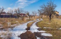End of winter landscape in Ukrainian village. Novoaleksandrivka near Dnepropetrovsk city Royalty Free Stock Photography