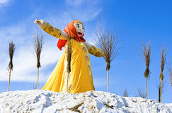 End of the winter. Shrovetide in Russia. Big doll for the burnin Royalty Free Stock Photos