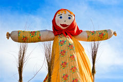 End of the winter. Shrovetide in Russia. Big doll for the burning Stock Images
