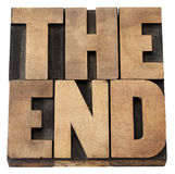 The end in wood type Stock Image