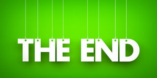 The end - word hanging on rope Stock Images