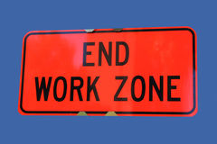 End of work zone sign. On blue royalty free stock images