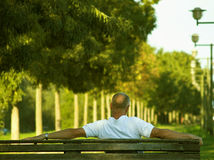 At The End Of The Working Life. Elder man is enjoying afternoon, sitting on bench at promenade Stock Photography