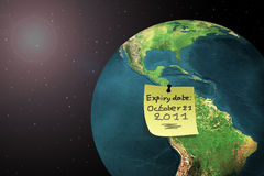 End of the world 2011. Sticky note on earth with doomsday date in 2011 stock illustration