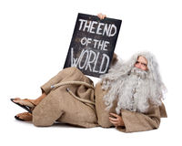 The end of the world. Visionary with a sign of the end of the world Stock Image