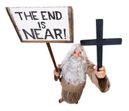 The end of the world. Prophet with sign The end is near Royalty Free Stock Photos