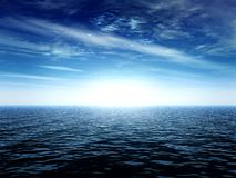 End of the world. Sea landscape with a bright light Stock Image