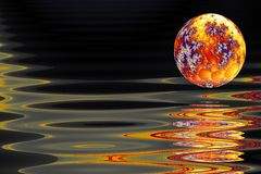 End of a world. Burning planet hovers above a sea of liquid metal, fractal generated stock illustration