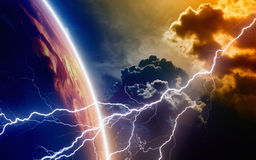 End of world. Abstract religious background - lightning from red stormy sky strikes planet Earth, end of world. There were not used NASA images Stock Images