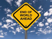 End of world ahead sign Stock Image