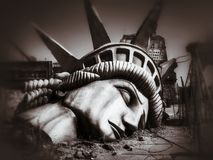 The end of the world. Apocalyptic vision of the future world. New York, Manhattan, USA Royalty Free Stock Image