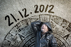 End of the World is comming. Man is waiting for end of the world Stock Photography
