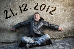 End of the World is comming. Man is waiting for end of the world Stock Photos