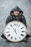 End of the World is comming. Man is waiting for end of the world Stock Photo