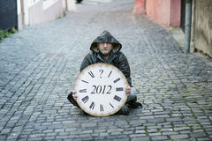 End of the World is comming. Man is waiting for end of the world Royalty Free Stock Photography